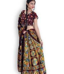 Buy Brown And Multicoloured Cotton Jaipuri Readymade Lehenga readymade-lehenga-cholis online