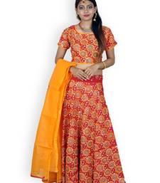 Buy Red And Yellow Cotton Jaipuri Readymade Lehenga readymade-lehenga-cholis online