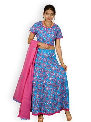Blue And Pink Cotton Jaipuri Readymade Lehenga