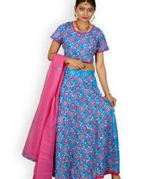 Buy Blue And Pink Cotton Jaipuri Readymade Lehenga readymade-lehenga-cholis online