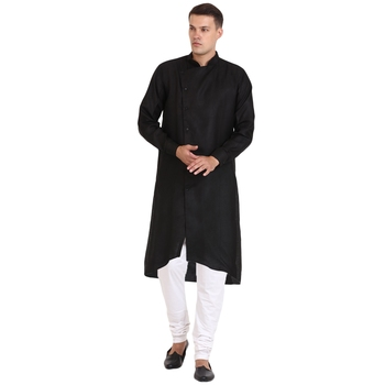 Men'S Zig Zag Black Cotton Long Kurta
