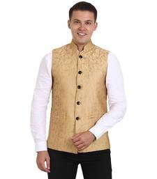 Golden Banarasi Print Nehru Jacket