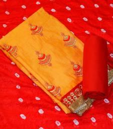 Buy Orange embroidered chanderi salwar dress-material online