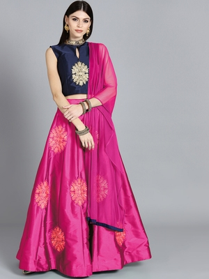 Chhabra 555 Blue  And  Pink Art Silk Zari  And  Kundan Worked Stitched Lehenga Choli With Net Dupatta