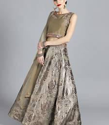 Buy Chhabra 555 Moss Green Raw Silk Kundan Hand Embroidered Stitched Lehenga Choli With Net Dupatta readymade-lehenga-cholis online