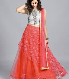Buy Chhabra 555 Pink  And  Grey Net Heavy Chikan Embroidered Stitched Lehenga Choli With Net Dupatta readymade-lehenga-cholis online