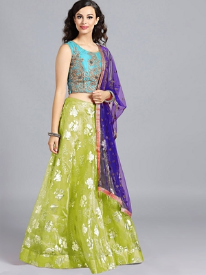 Chhabra 555 Blue  And  Green Foil Printed Tissue Hand Embroidered Stitched Lehenga Choli With Heavy Net Dupatta