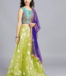 Buy Chhabra 555 Blue  And  Green Foil Printed Tissue Hand Embroidered Stitched Lehenga Choli With Heavy Net Dupatta readymade-lehenga-cholis online