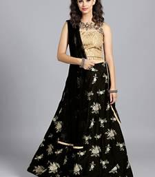 Buy Chhabra 555 Black  And  Gold Micro  And  Jacquard Silk Hand Embroidered Stitched Lehenga Choli With Net Dupatta readymade-lehenga-cholis online