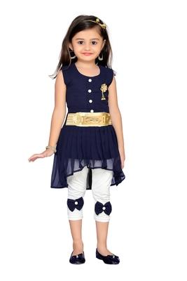 Navy blue kids party wear dress