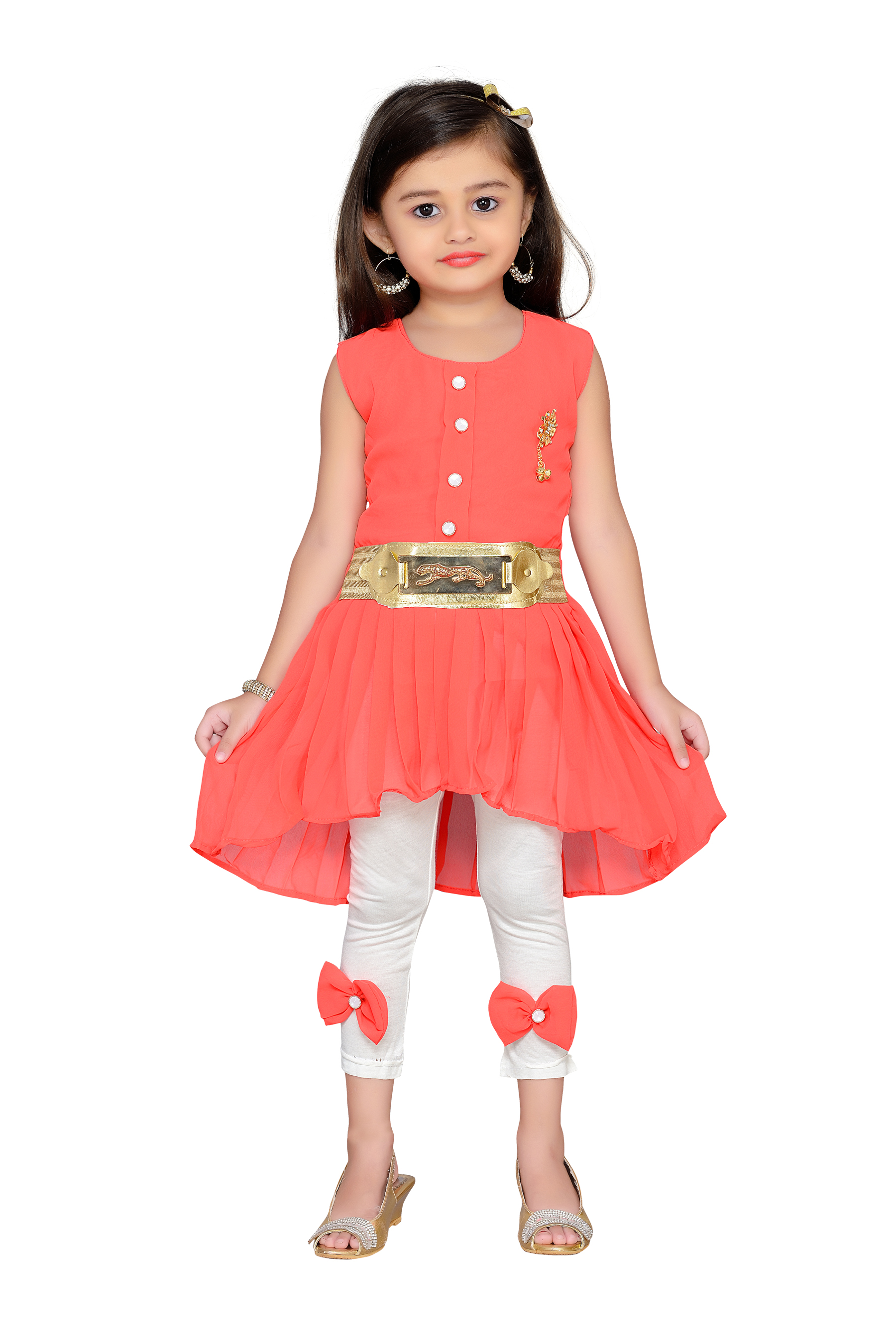 2eec39272a Orange kids party wear dress - AJ Dezines - 2746716