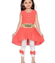 Orange kids party wear dress