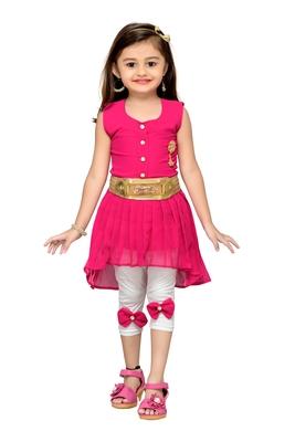 Pink kids party wear dress