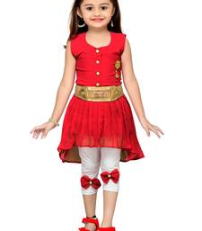 Red kids party wear dress