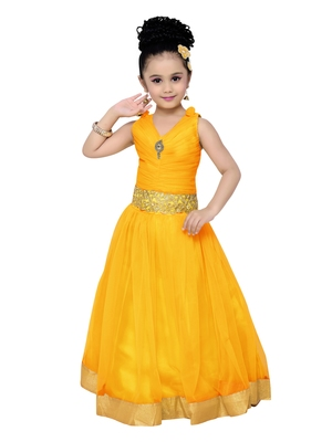 Yellow kids party wear gown