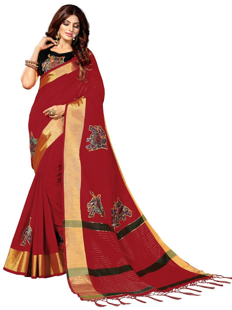 7af75bf58a3 Red printed art silk sarees saree with blouse - Mirchi Fashion - 2746734