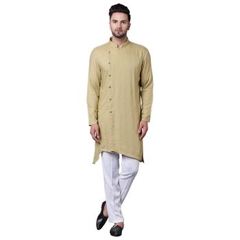 Trendy Asymmetric Sherwani Style Khaki Men'S Kurta Only