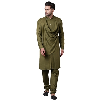 Stylish Shawl Neck Olive Men'S Kurta Only