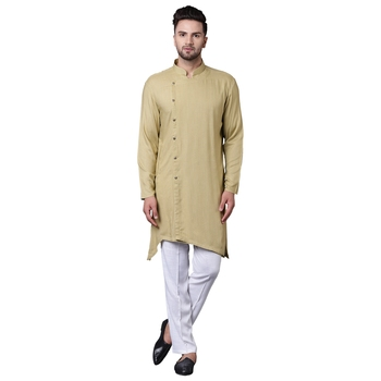 Trendy Asymmetric Sherwani Style Khaki Men'S Kurta With White Pyjamas