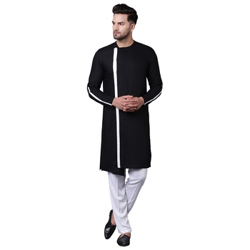 Dynamic Collarless Asymmertric Black Men'S Kurta With White Pyjamas