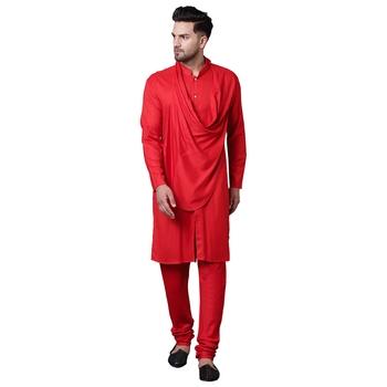 Stylish Shawl Neck Red Men'S Kurta Only