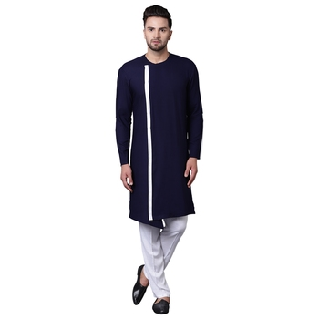Dynamic Collarless Asymmertric Navy Blue Men'S Kurta With White Pyjamas