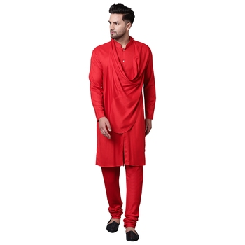 Stylish Shawl Neck Red Men'S Kurta With Red Churidar