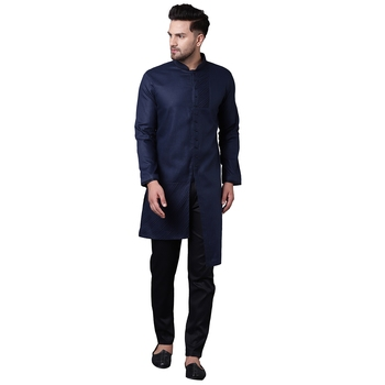 Swanky Pintucked Front Open Navy Blue Men'S Kurta Only