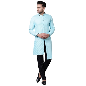 Swanky Pintucked Front Open Turquoise Blue Men'S Kurta With Black Trousers
