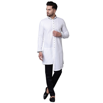 Swanky Pintucked Front Open White Men'S Kurta With Black Trousers