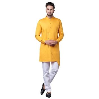 Trendy Asymmetric Overlap Mustard Men'S Kurta Only