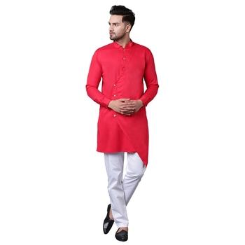 Trendy Asymmetric Overlap Red Men'S Kurta Only