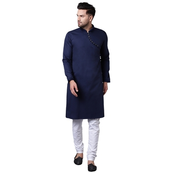 Daring Angrakha Placket Navy Blue Men'S Kurta With White Churidar