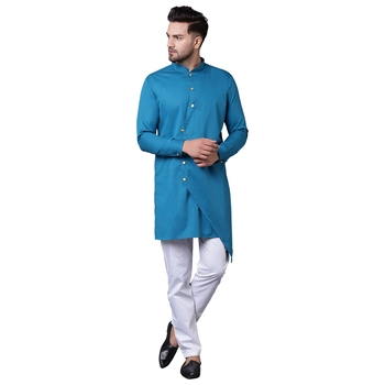Trendy Asymmetric Overlap Teal Men'S Kurta Only