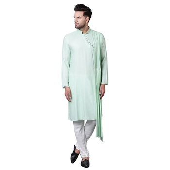 Dushala Style Draped Sea Green Men'S Kurta Only