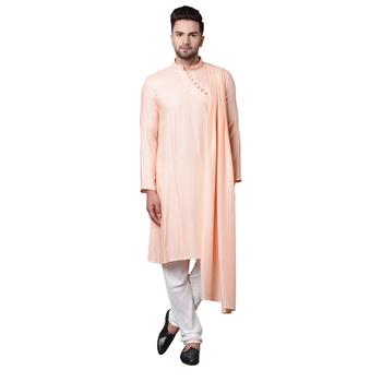 Dushala Style Draped Peach Men'S Kurta With White Churidar