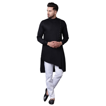 Modern Jama Style Asymmetric Black Men'S Kurta Only