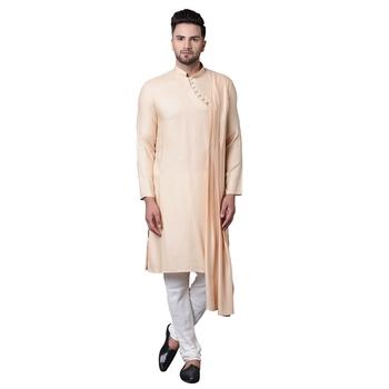 Dushala Style Draped Beige Men'S Kurta With White Churidar