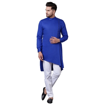 Modern Jama Style Asymmetric Royal Blue Men'S Kurta Only