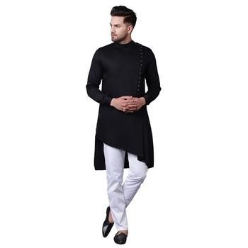 Modern Jama Style Asymmetric Black Men'S Kurta With White Trousers