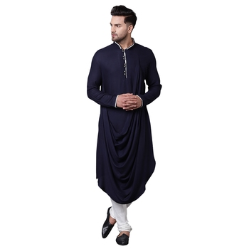 Royal Front Drape Navy Blue Men'S Kurta Only