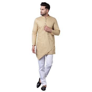 Dapper Overlap Curved Placket Beige Men'S Kurta With White Trousers