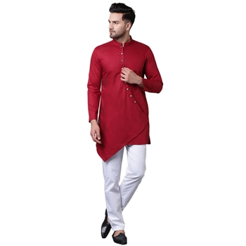 Dapper Overlap Curved Placket Maroon Men'S Kurta With White Trousers