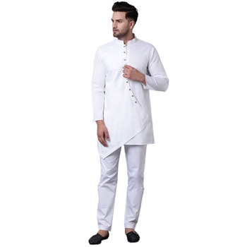 Dapper Overlap Curved Placket White Men'S Kurta With White Trousers