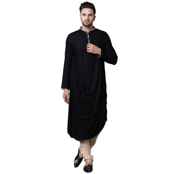 Royal Front Drape Black Men'S Kurta With Beige Churidar