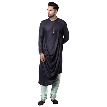 Royal Front Drape Grey Men'S Kurta With Sea Green Churidar