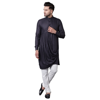 King Cut Front Drape Grey Men'S Kurta With White Churidar