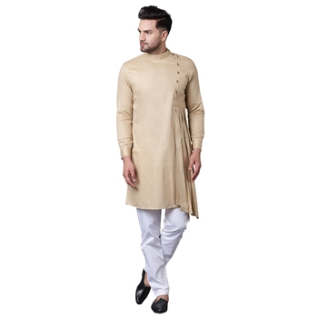 Aristocratic Angrakha Style Pleated Beige Men'S Kurta With White Trousers