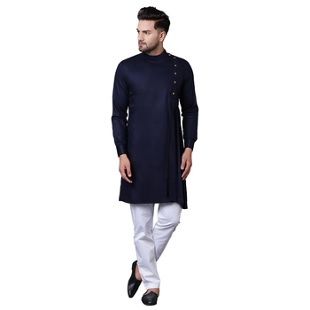 Aristocratic Angrakha Style Pleated Navy Blue Men'S Kurta With White Trousers
