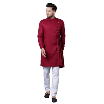 Aristocratic Angrakha Style Pleated Maroon Men'S Kurta With White Trousers
